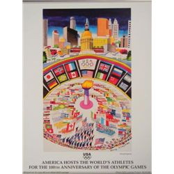 1996 Olympics AMERICA HOSTS THE ATHLETES Kingman Poster