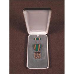 CASED U.S. NAVY SERVICE MEDAL W/RIBBON BAR & LAPEL BAR