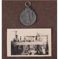 NAZI RUSSIAN FRONT MEDAL & PIC NAZI SECURITY NURENBURG