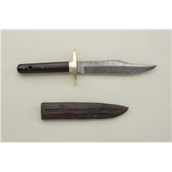 "Holland and Holland clip point belt knife with leather sheath, approx. 10"" overall with a 6"" blade s"