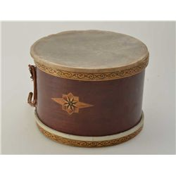 Military marching style drum with label on the interior 20th century drum company. The head has beco
