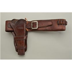 Contemporary High quality single action holster and belt rig both marked R. M. Bachman, Kalispell, M