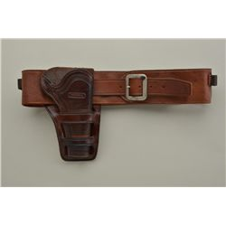 Contemporary Holster and belt rig in classic Western style marked R.M. Bachman, Kalispell, Montana.