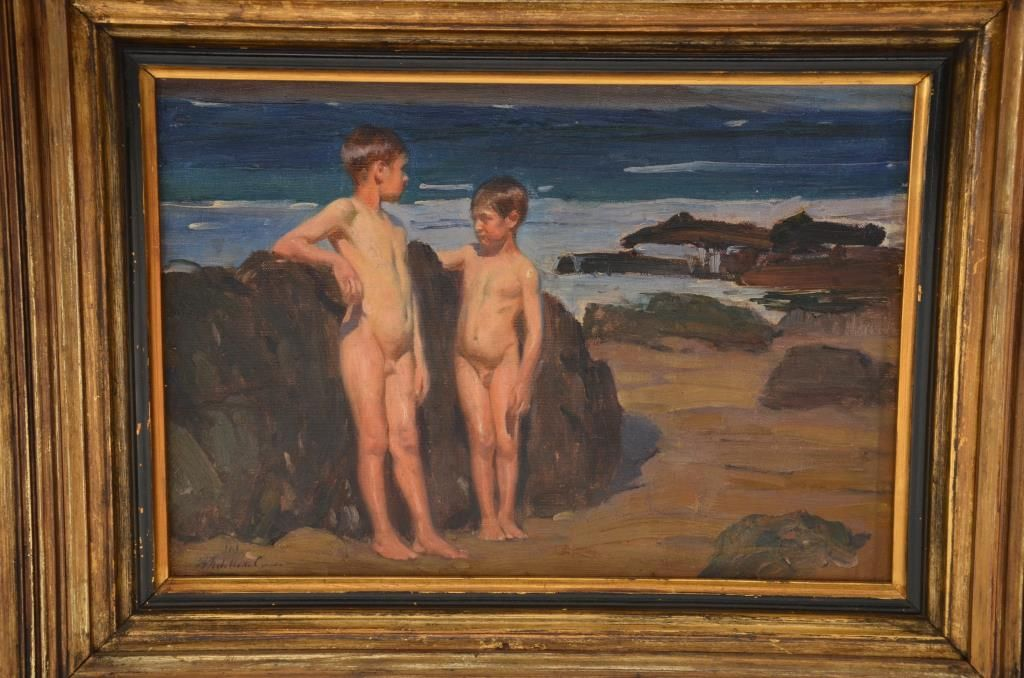 ... Image 4 : Original oil painting on canvas portraying two innocent young  boys swimming nude at ...