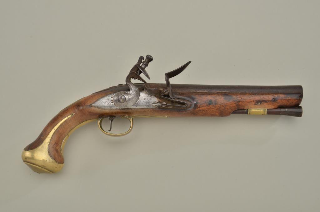 "U S  Revolutionary War era flintlock pistol by Griffin & Rowe,  64 cal ,  7-1/4"" barrel, wood stock w"