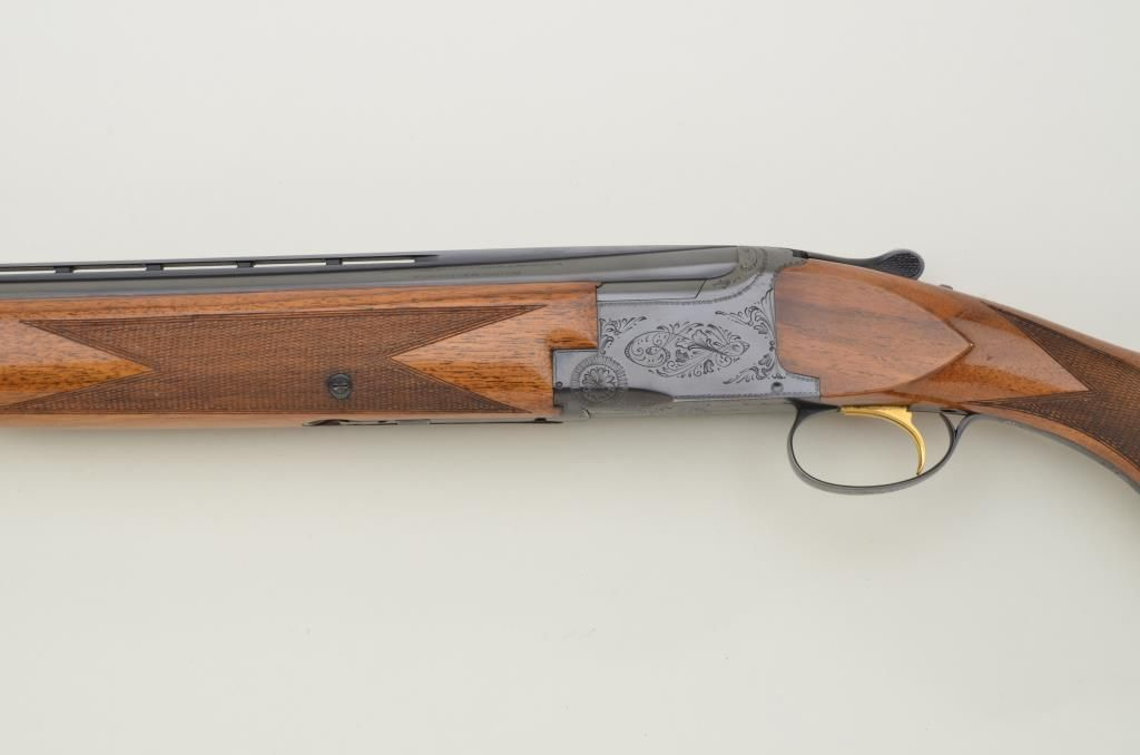 "Belgian-made Browning Superposed Grade I O/U shotgun, 12 gauge, 2-3/4""  chambers, auto ejectors, 26-3"