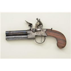 """Over and under tap-action flintlock two shot pistol signed """"Lacy, #67 Royal Exchange, London"""". The p"""