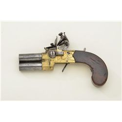 """Over and under flintlock two shot tap-action pistol signed """"Twigg, London"""" with brass frame and of d"""