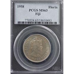 1958 Fiji Florin PCGS MS63