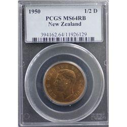 1950 New Zealand 1/2D PCGS MS64 RB