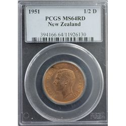 1951 New Zealand 1/2D PCGS MS64RD
