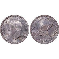 1937 New Zealand 6D PCGS MS65