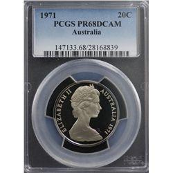 1971 Australia 20c PCGS PR68DCAM