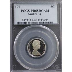 1971 Australia 5c PCGS PR68DCAM