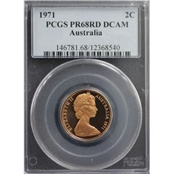 1971 Australia 2c PCGS PR68RD DCAM