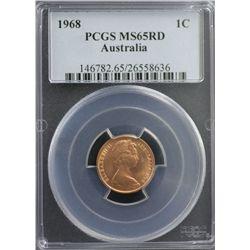 1968 Australia 1c PCGS MS65RD