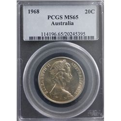 1968 Australia 20c PCGS MS65