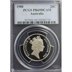 1988 Australia 20c PCGS PR69DCAM