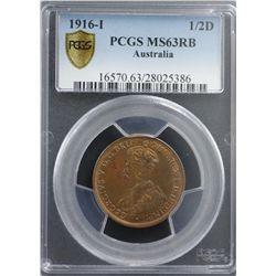 1916-I 1/2D PCGS MS63RB