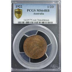 1922 1/2D PCGS MS64RB
