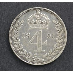 Great Britain Fourpences 1891 EF, Threepences 1887 Unc, 1900 EF, 1889