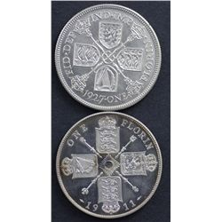 Great Britain Proof Florins 1911 & 1927