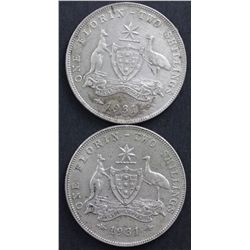 Australian 1931 Florins EF or better
