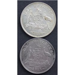 Australia Shillings 1915H and 1916