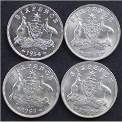 Australia Sixpences 1954, 1961,1962,1963