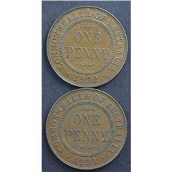 Australia Pennies 1931, 1932, Halfpennies 1919 & 1924