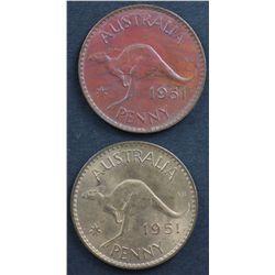 Australia Halfpennies 1933 , 1959, Pennies 1951Y, 1951PL