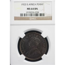 South Africa Penny 1923 NGC MS 64 Brown