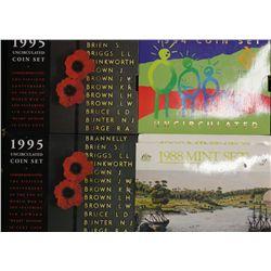 Australia 1988 Mint Sets x 2, 1994 Mint Set, 1995 Mint Sets x 2