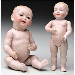 LOT OF TWO GERMAN ALL BISQUE BABY DOLLS.