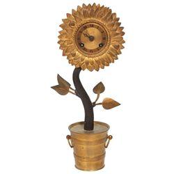 Bronze Silk Thread Sunflower Clock