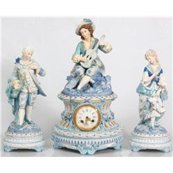 French Figural Bisque Clock Set