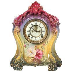 "Ansonia Royal Bonn China Clock ""La Mine"""