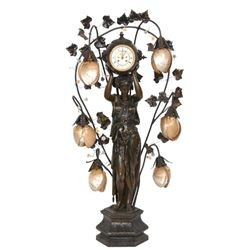 French Figural Standing Newell Lamp w/ Clock