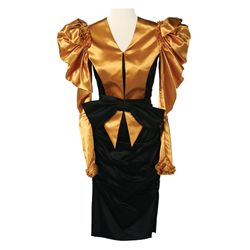 Capitol Citizen Black Dress with Gold Shrug from The Hunger Games