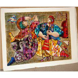Dorit Levi, Jazz Dancers, Signed Serigraph on Canvas