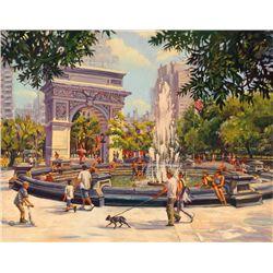 Michele Byrne, Washington Square, Signed Canvas Print