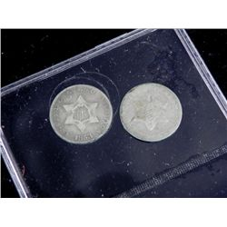 2 Nice Hi Grade 3 Cent Silver Coins 1852-53 Good Detail