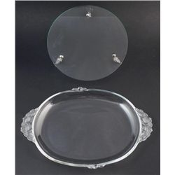 2 Crystal Serving Trays, Platter Frosted Glass