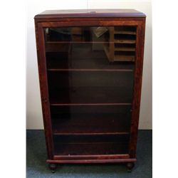 Large Antique Wood Display Cabinet w/ Glass & 4 Shelves