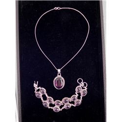 Amethyst 2 Pc Sterling Bracelet & Pendant Necklace Set