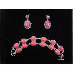 Red Coral Sterling Double Bracelet & Earrings Set