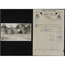Harley Davidson Vintage Motorcycle Sales Receipt, Photo