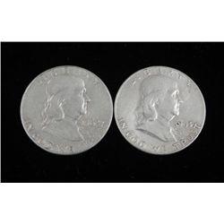 2 Franklin Hi-Grade Half Dollars 1962-D & 1963-D