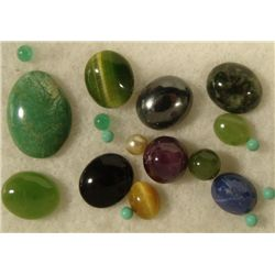 15+ Assorted Gemstones Oval, Round Green, Blue