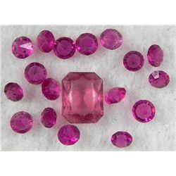 19 Fuchsia Gemstones Gems 10 mm Round, Emerald Cut